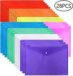 EOOUT Poly Envelope Folder - 28pcs 8-Color Clear Plastic Envelope with Snap Button Closure - A4 Size