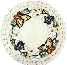 Doily Boutique Round Doily with Multi-Color Butterfly on Ivory Fabric, Size 23 inches