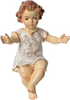 Baby Jesus with Clothes in Valgardena木製、古いアンティークゴールドFin 15 cm (5.91 inc.) 19619.14751
