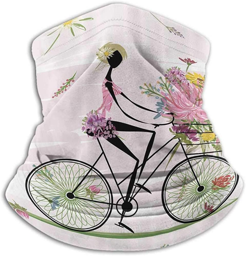 Neck Gaiter Women Girl Riding a Bike with Watercolor Daisy Flowers Basket Creative Personality Custom Scarf