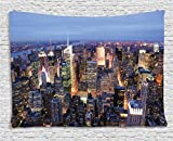 Ambesonne New York Tapestry, Aerial View of NYC Full of Skyscrapers Manhattan Times Square Famous Cityscape Panorama, Wide Wall Hanging for Bedroom Living Room Dorm, 80' X 60', Blue Multicolor