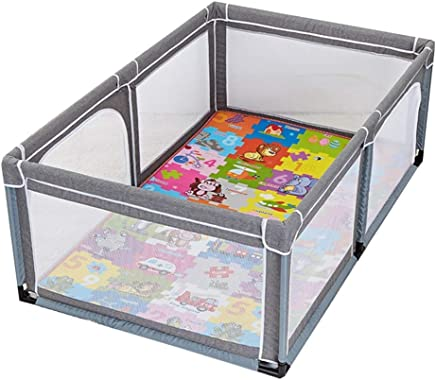 WJSW Children s Play Fence Indoor Baby Toddler Fence Baby Safety Crawling Mat Anti-fall Fence gray  Available Variety Sizes  Size 150 190 70cm