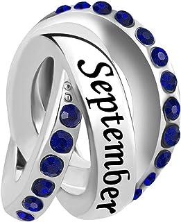 Q&Locket Jan-Dec Birthstone Charms Trinity Ring Birthday Charm Beads for Bracelets
