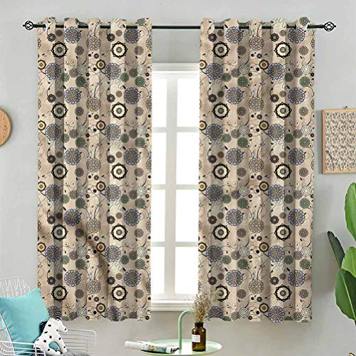 Blackout Window Curtain Abstract Round Flowers W72 x L84 Inch (2 Panels) for Indoor Living Dining Room Bedroom