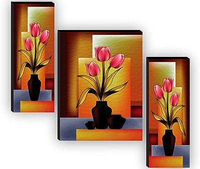 SAF Set of 3 Flower Pot UV textured Home Decorative Gift Item Painting 12 Inch X 18 Inch SAF-JMS59