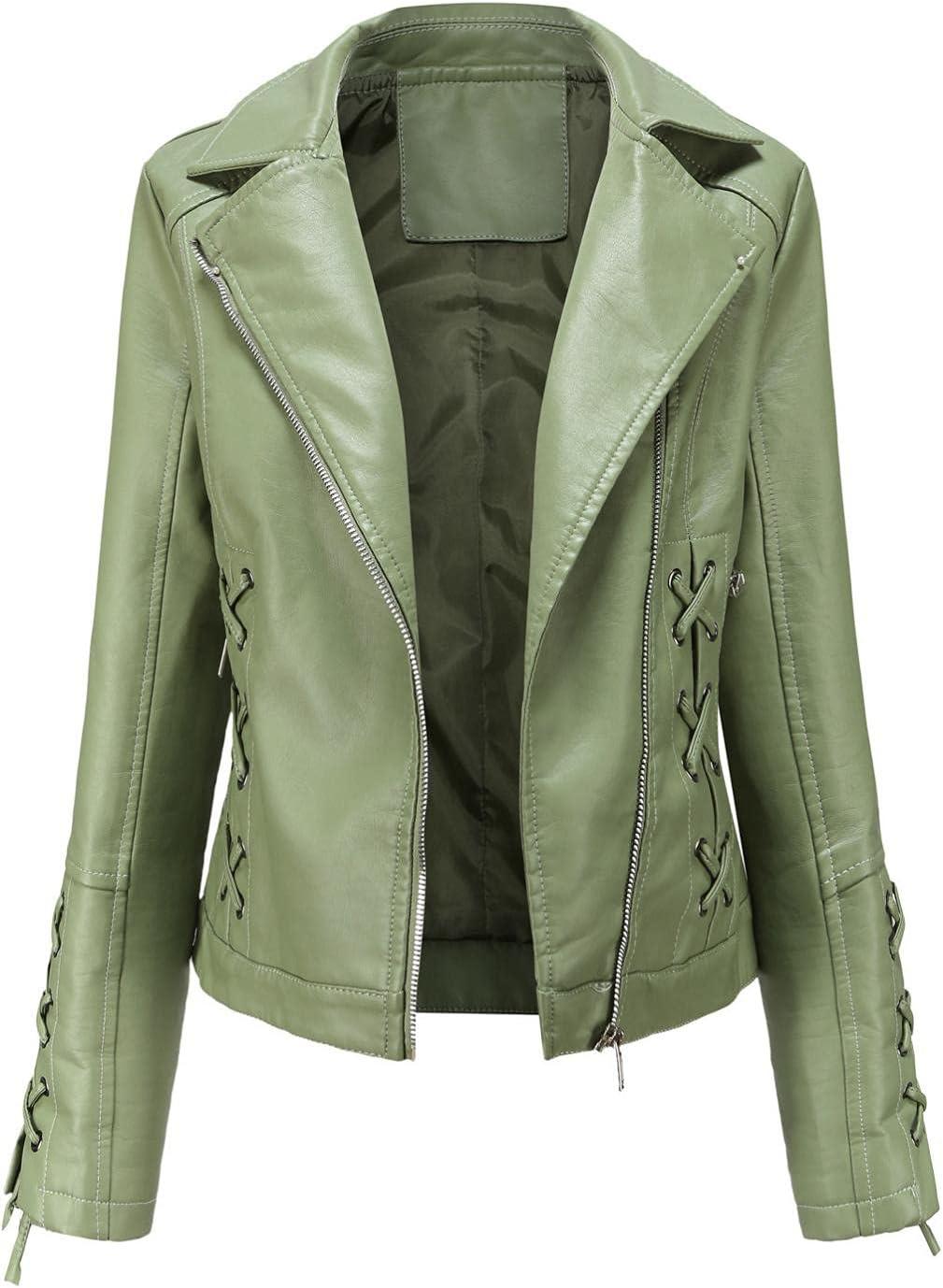 Women Faux Leather Motorcycle Jacket Crisscross Long Sleeve Zip Pocket Casual Lapel Coat Outerwear