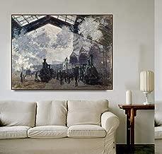 Chihie Estación de Saint-Lazare de Monet Carteles e impresión de Lienzo Cuadros de Pared para Sala de Estar Dormitorio Decoración para el hogar 40cm x60cm Sin Marco