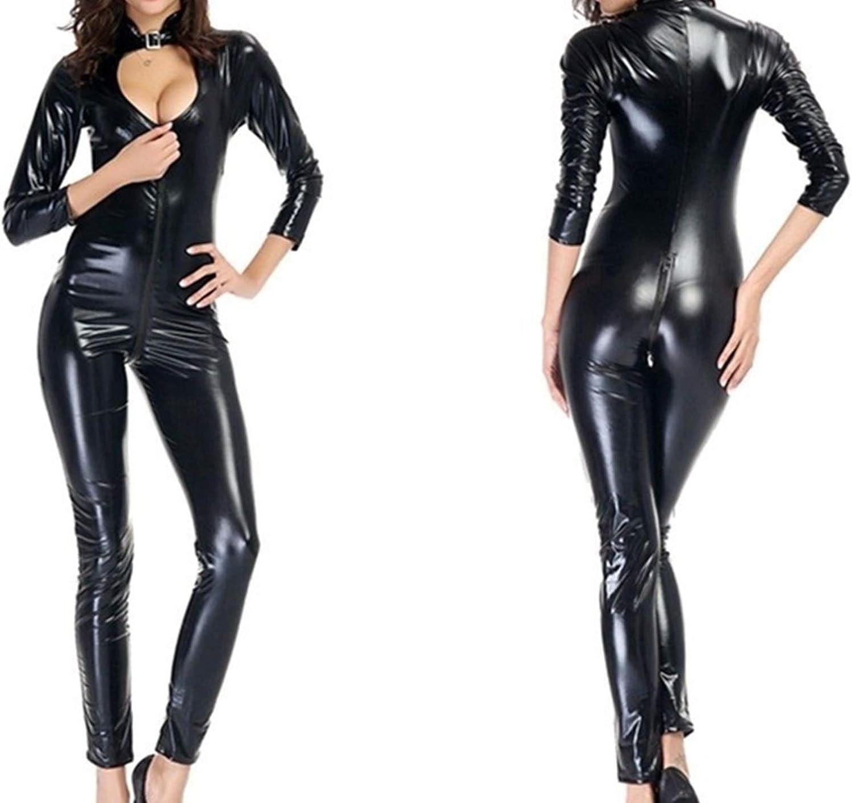 JIEITAO Sexy Wetlook Faux Leather Fro 5 ☆ very popular Latex Bodysuit Popular popular Catsuit PVC