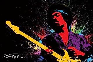 Pyramid America Jimi Hendrix Playing Guitar Paint Splatter Music Cool Wall Decor Art Print Poster 36x24