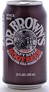 Dr. Brown's Original Draft Style Root Beer Soda Blended for Full-Bodied Flavor, 12 fl oz Cans (9 Cans)