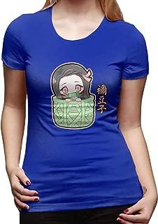 UXUEYING Chibi Kamado Nezuko Demon Slayer Kimetsu No Yaiba T-Shirt Blouses Women Short Sleeve Tops