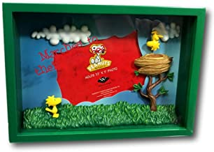 Westland Giftware Peanuts Woodstock and Friends Gang Snoopy Upside Down Picture Frame Shadow Box 3D Horizontal Photo Green 3.5 by 5