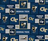 Georgia TECH Fleece Blanket Fabric-Georgia Institute of Technology Fleece Fabric with New Patch Pattern-Sold by The Yard