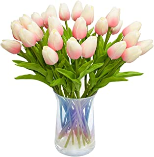 JOEJISN 30pcs Artificial Tulips Flowers Real Touch Pink Tulips Fake Holland PU Tulip Bouquet Latex Flowers for Wedding Party Office Home Kitchen Decoration (Light Pink)