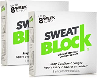 Sweatblock Antiperspirant For Men and Women (2 Box Deal) - Clinical Strength Antiperspirant Wipes for Hyperhidrosis - Reduce Sweat Up To 7-days Per Use
