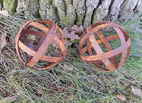 Deko-Impression Zwei Kugeln Dekokugeln aus Flacheisen Gitterkugeln massiv Rost je 10cm