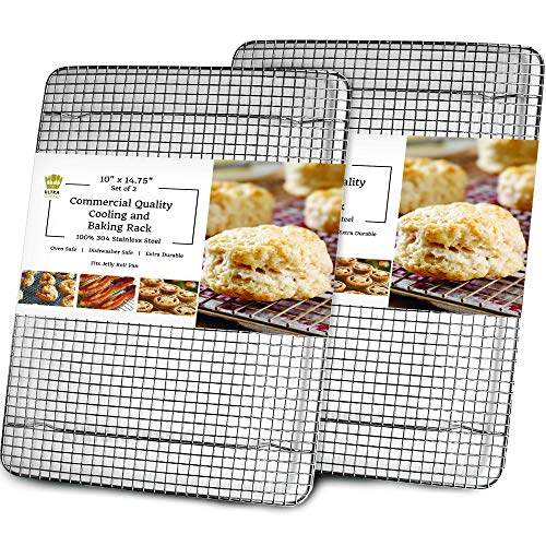 Cooling, Baking & Roasting Wire Racks for Sheet Pans - 100% Stainless Steel Metal Racks for Cooking - Dishwasher Safe, Rust Resistant, Heavy Duty (10' x 14.75' - Set of 2)