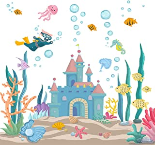 Amaonm Removable 3D Cartoon DIY Under The Sea World Wall Decals Castle and Seaweed Wall Stickers Ocean Fish Wall Decor for Girls Bedroom Kids Bathroom Home Walls Living Room Decoration (Castle)