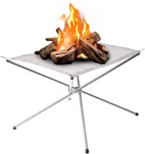 Large Portable Outdoor Fire Pit : Collapsing Steel Mesh Fireplace - Perfect for Camping, Backyard and Garden - Carrying Ba...