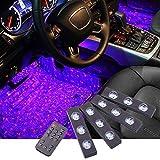 Car Interior Ambient Lights Star Projector Lights, Remote Control Sound Active Atmosphere Lamp for Car Carpet Lights