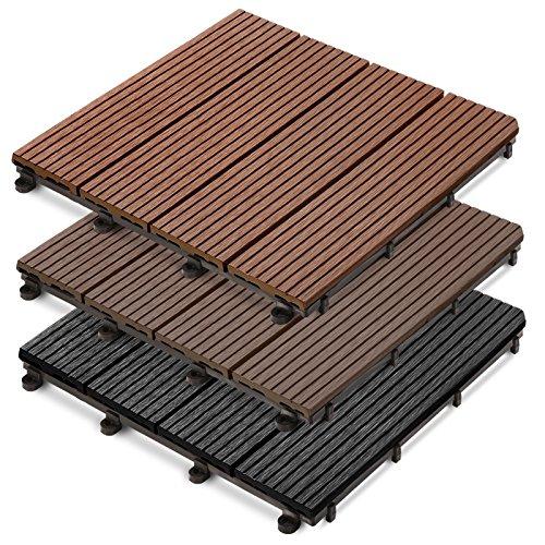 casa pura Bodenbelag für Außenbereiche Incastro/Gartenboden/Flossenblatt/Holz WPC/Platten/Autoblocker/Set erhältlich in DREI Farben und Zwei Größen 30x30x2,2 cm - 22 unità Hellbraun