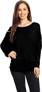 Women's Flowy Comfort Draped Long Sleeve Batwing Doolman Top S-3XL Plus Size