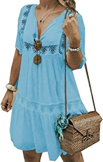 Mogogo Womens Pure Colour Hollow Out Plus Size Short Sleeve Casual Dress