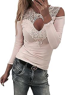 32e47faec64 Camisa De Manga Larga Mujer Elegantes Encaje de Splice Blusa Regalos  Vacaciones Sin Tirantes Primavera Otoño