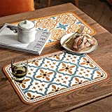 Leather table mat modern floral style romantic western food mat potholder household Table Mat pattern hand drawing Set of 2 Dining Table Mats-Vintage blue||40 * 30cm