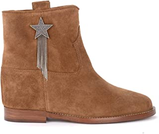 Via Roma 15 Woman's Ankle Boot in Leather-Colored Suede with Applied Star