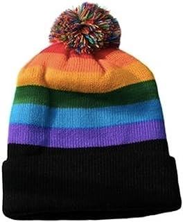 Ski Cap Short Pom Pom Rainbow Black Brim Winter Cap. LGBT Gay & Lesbian Pride Hat