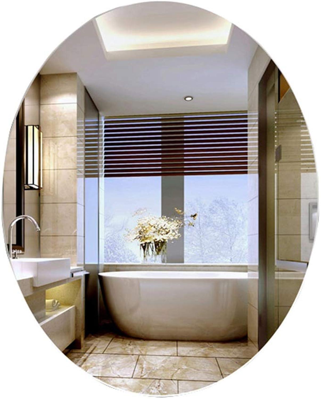 LXFMD Wall-Mounted Bathroom Mirror Oval Bathroom Mirror Bathroom Vanity Mirror Hanging Frameless Bathroom Mirror (Size   50×70cm)