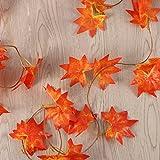 WINOMO 2 Stücke Herbstgirlande mit Ahorn Blättern Tischdeko künstlich Fensterdeko 2.4M - 4
