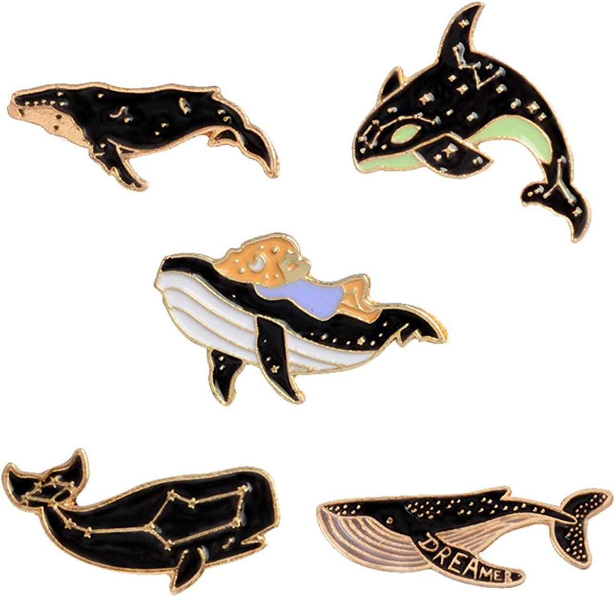WINZIK Lapel Brooch Pins Set 5pcs Novelty Cute Cartoon Dolphin Whale Pattern Enamel-liked Badges for Children Adults Clothes Bags Decor: Clothing