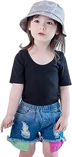 Conjunto de ropa de verano de 2 piezas de algodón para niñas playera + pantalones cortos de tela vaquera ropa de moda para niños