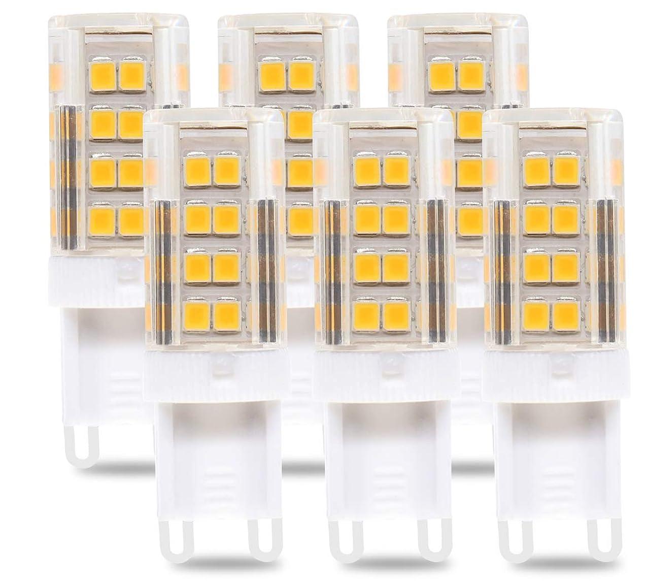 iRotYi (6-Pack) G9 LED Light Bulbs, 52pcs SMD-2835 LEDs, 5W(50W Halogen Equivalent),500LM,AC 110V - 130V,Warm White 2700-3000 Kelvin,G9 LED Corn Light