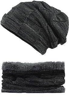 Mens Winter Hats Slouchy Beanie Hat Scarf Set Knit Fleece Lining Gift