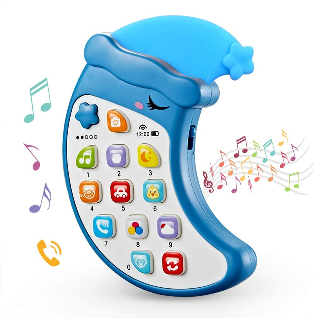 Vaseoils Baby Musical Cell Phone Toy, Toy Cell Phone for Toddlers 1-3,Early Educational Toy Phone, Musical and Numbers Learning Phone Toys, Electronic Learning Toy with Sound and Light.(Blue)