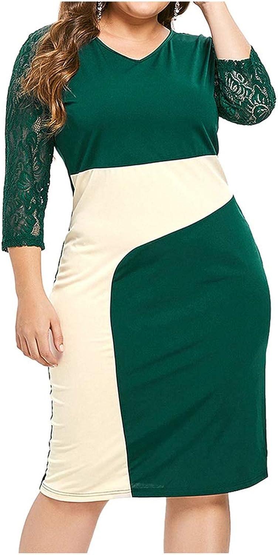 Block Knee Length Women Bodycon Dress V Neck Slim High Waist Women Party Dress,