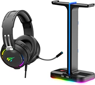 Havit Gaming Headphone Stand & Wired Gaming Headset Desk Dual Headset Hanger Base with Phone Holder & 2 USB Port for Dual ...