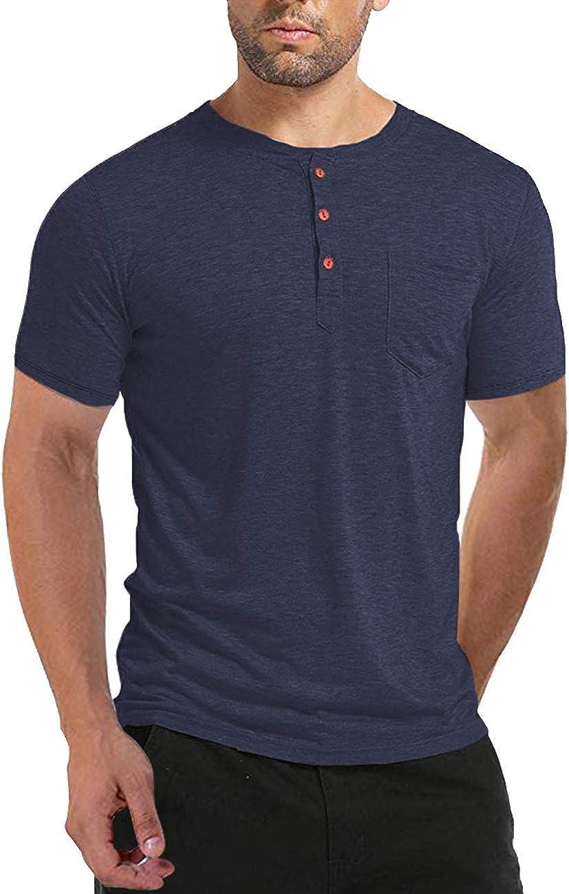 BABEIYXM Men's Shirt Button Short/Long Sleeve, Casual Top with Pockets Slim T-Shirt, Upgraded Models