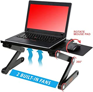 """Desk York Adjustable Laptop Stand - Use in Bed Recliner/Sofa -Best Gift for Friend-Men-Women-Student- Couch Lap Tray- Aluminum Table for Computer- 2 Built in Fans-Mouse Pad&USB Cord -Up to 17"""" Black"""