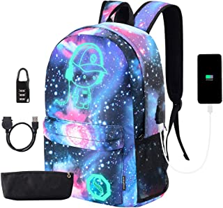 Anime Luminous Backpack with USB Charger Port and Lock & Pencil Case, Unisex School Backpack for Teens Girls Boys