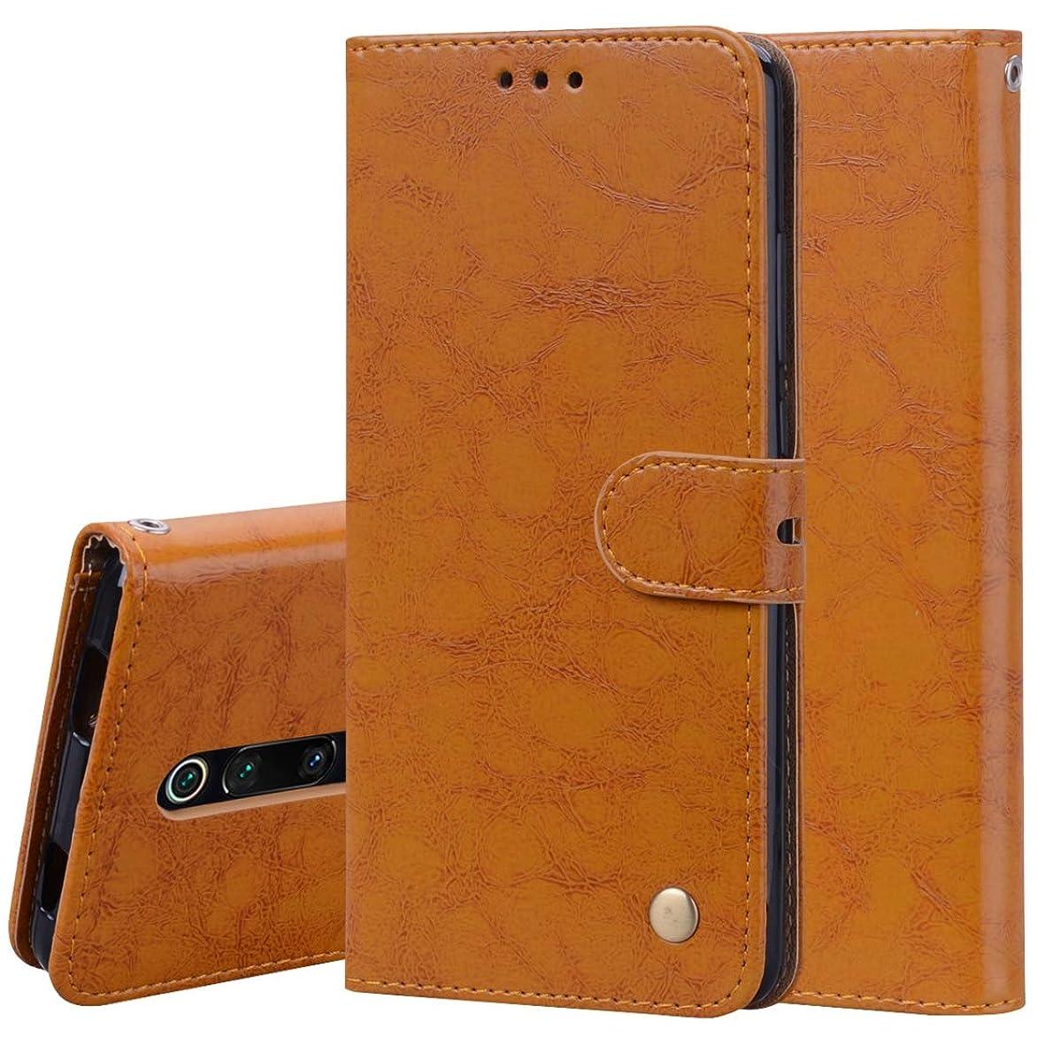 訪問口スツールホルダー&カードスロット&財布と小米科技Redmi K20 / K20プロビジネススタイルのオイルワックステクスチャ水平フリップレザーケースのための携帯電話ケース、 brand:TONWIN (Color : Brown)