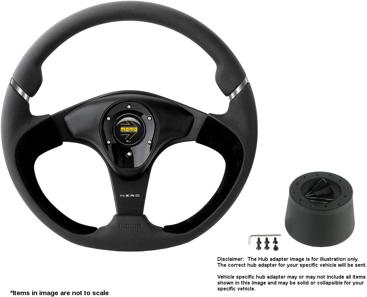 MOMO Nero 350mm 13.78 Max 88% OFF Inches Brushed Leather Wheel w NEW before selling Steering