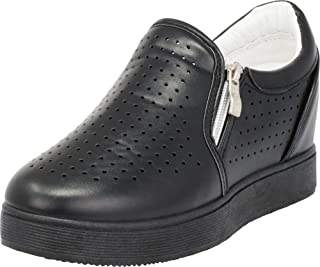 Cambridge Select Women's Low Top Laser Cutout Perforated Hidden Wedge Fashion Sneaker