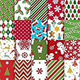20 Stück Baumwollstoff Weihnachten, Weihnachtsmotiv