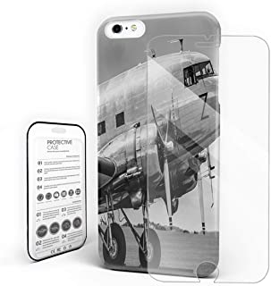 Compatible with iPhone 6 Case and iPhone 6s Case, Hard PC Back Phone Case with Tempered Glass Screen Protector Old Airplane Airliner Pattern Shockproof Cover