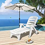 COSTWAY Folding Sun Lounger Chair Adjustable Recliner Seat W/Wheel Garden Patio Beach Pool Outdoor White (Single)