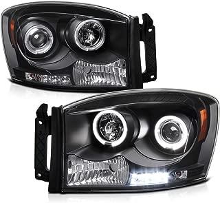 [For 2006-2008 Dodge RAM 1500 2500 3500] LED Halo Ring Black Projector Headlight Headlamp Assembly, Driver & Passenger Side